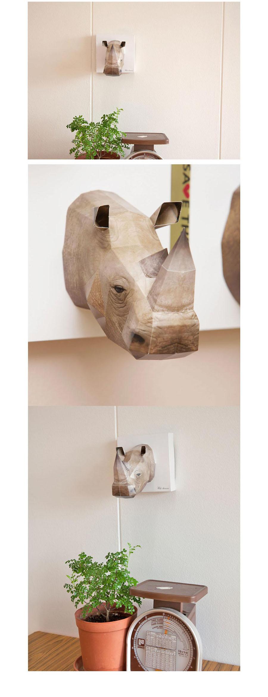 부모님 아이들 취미 만들기 놀이 코뿔소 종이 모형 종 종이장난감 DIY만들기 종이공예 페이퍼토이 종이공예품