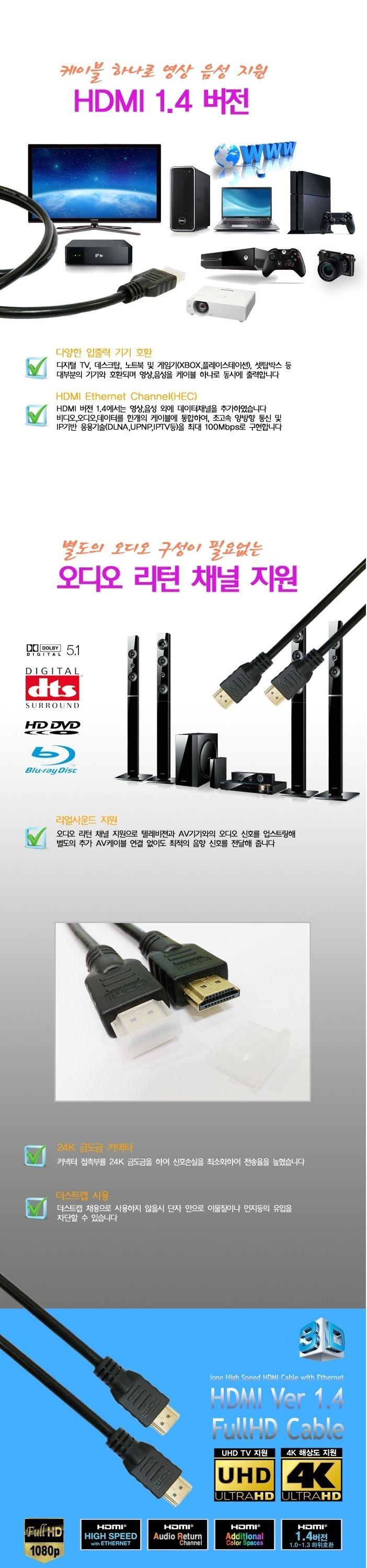 HDMI 1.4 보급형 케이블 1.5M(DHC00243) 마이크로HDMI 마이크로HDMI HDMI캐이블 3D 컴퓨터선 HDMI젠더