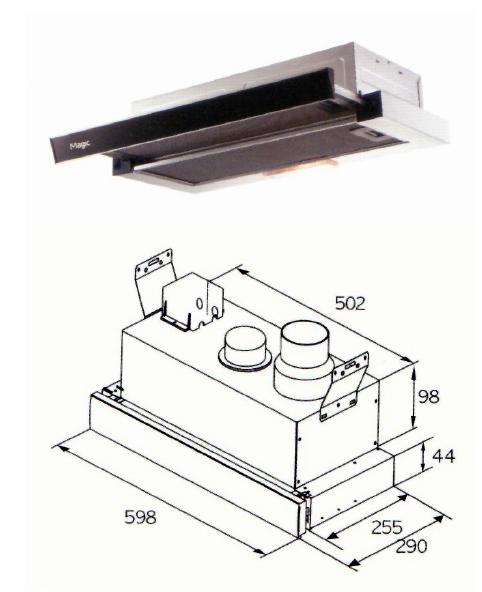 (단일제품) RHD-410L (인출식 가로600mm) 인출식후드  인출식후드 교체용후드 인출식렌지후드 가스렌지후드 후드교체