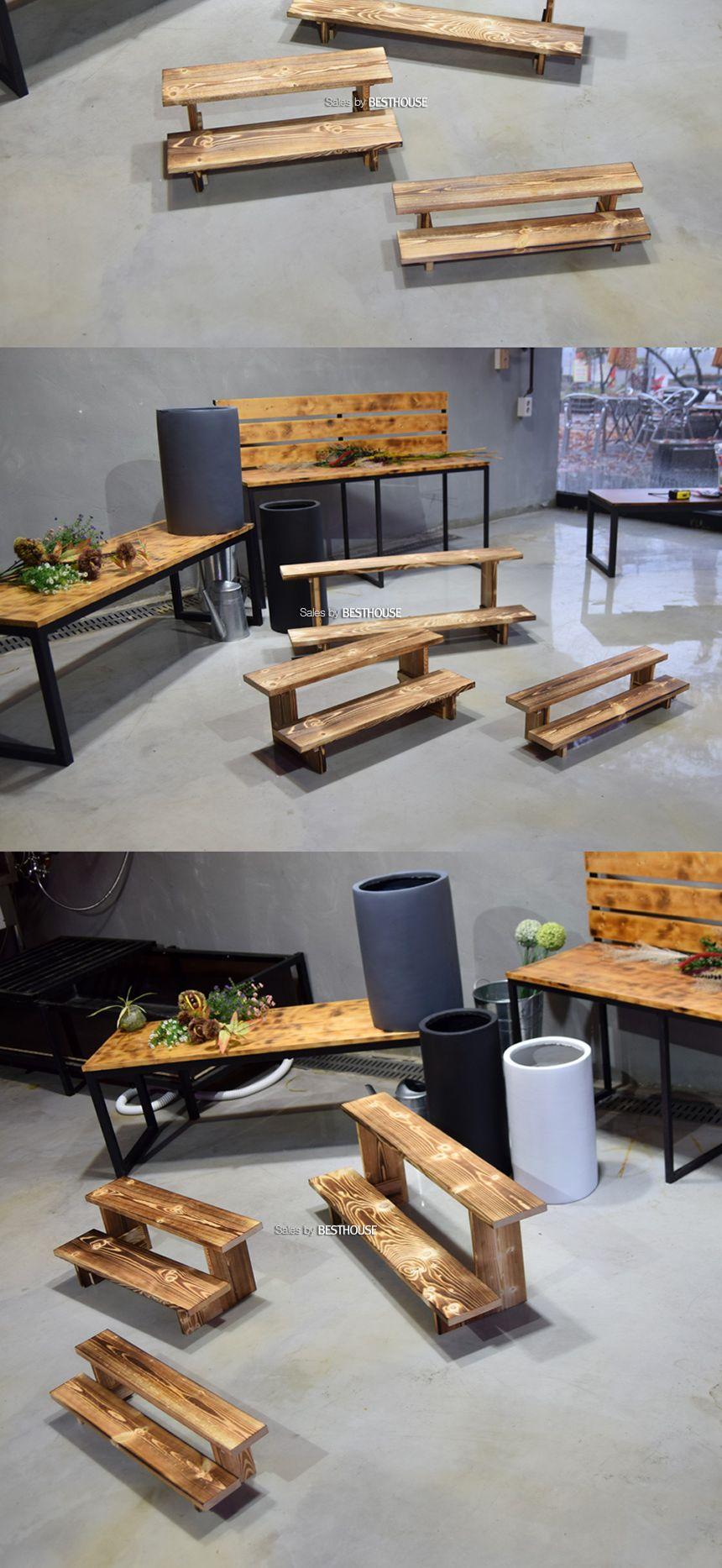 원목 우드 2단 계단 화분받침대 (대) 90x30cm 화분계 화분계단받침 화분계단받침대 화분받침 화분진열대 계단식화분정리대